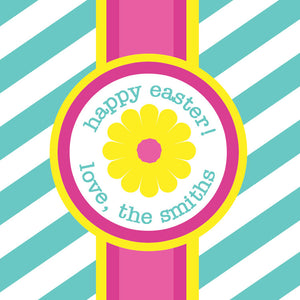 Striped flower in pink and yellow on aqua stripes gift tags