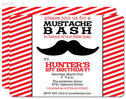 Mustache red stripe invitation