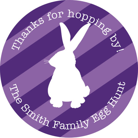 Striped purple Easter Favor Stickers