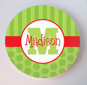 stripes and dots personalized christmas melamine plate