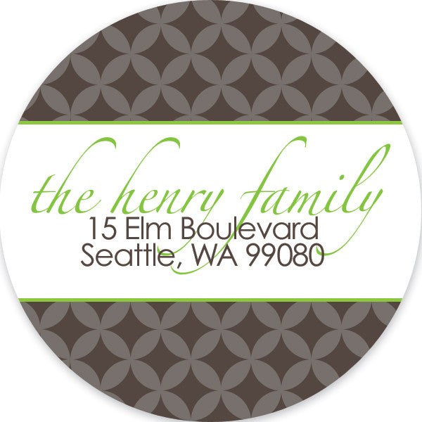 Sugarplums in stone and lime return address sticker