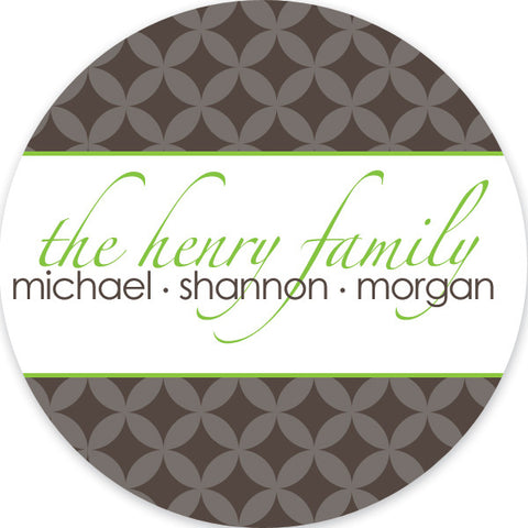 Sugarplums in stone and lime gift sticker