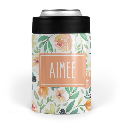 summer floral double walled stainless steel drink can cooler, pipsy.com