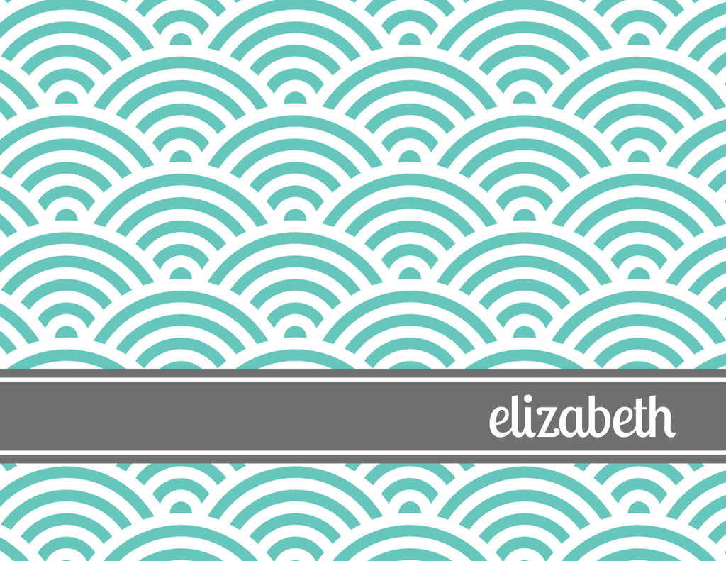 Aqua sunrise design with grey folded notecard