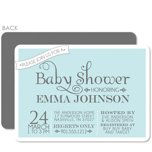 Sweet Banner Blue Baby Shower Invitation