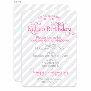 Sweet Stripes Sweet 16 Invitation