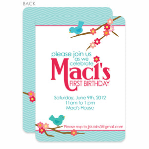 Sweet Birdies Birthday Invitation | Swanky Press | Blue & Pink
