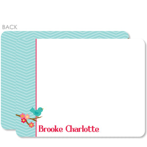 Sweet Birdie Flat Notecard | Swanky Press | Blue & Pink