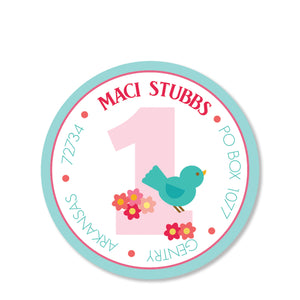 Sweet Birdie Return Address Sticker | Swanky Press | Round