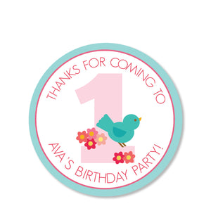 Sweet Birdie Favor Sticker | Swanky Press | Round