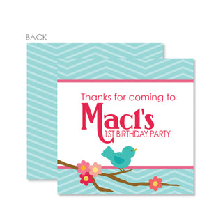 Sweet Birdie Cardstock Favor Tag | Swanky Press | Blue & Pink