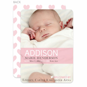 Sweet Heart Birth Announcement Pink