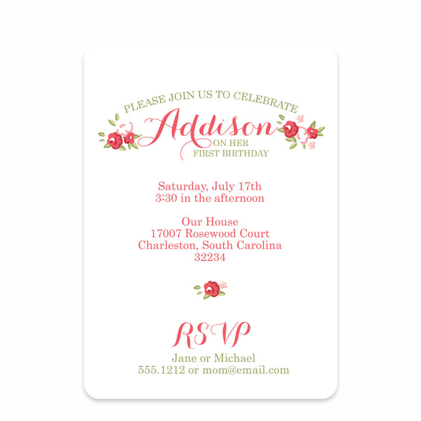 Sweet Roses Party Birthday Invitation | Swanky Press | Front