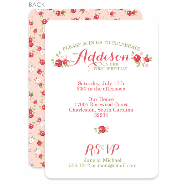 Sweet Roses Party Birthday Invitation | Swanky Press | Pink