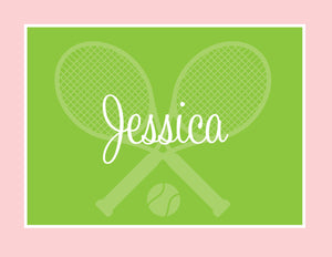 Tennis in pink and green folded notecards