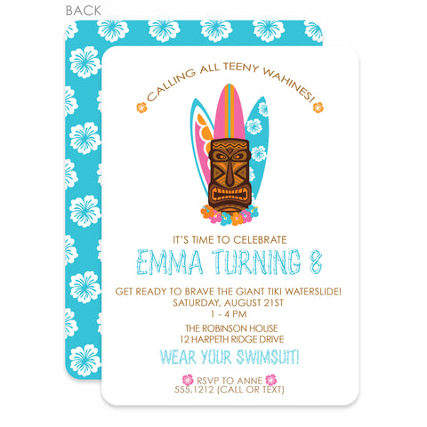 Tiki Party Birthday Invitation | Swanky Press | Blue