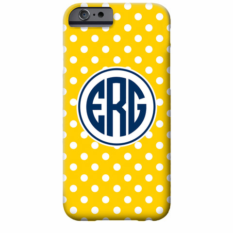 Monogrammed Tiny Dots Maize iPhone Case | Swanky Press