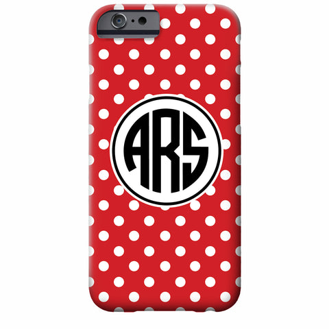 Monogrammed Tiny Dots Red iPhone Case | Swanky Press