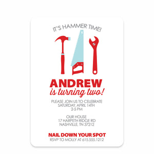 Red Builder Tools Birthday Party Invitation | Swanky Press | Front