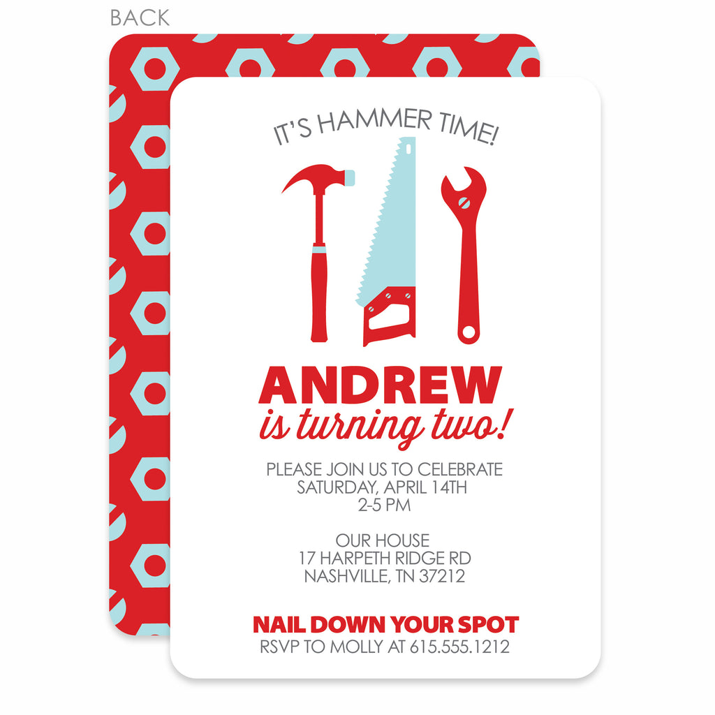 Builder Tools Birthday Party Invitation | Swanky Press | Red