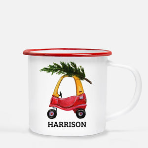Personalized Camp Mug featuring a toy car with a Christmas Tree, PIPSY.COM