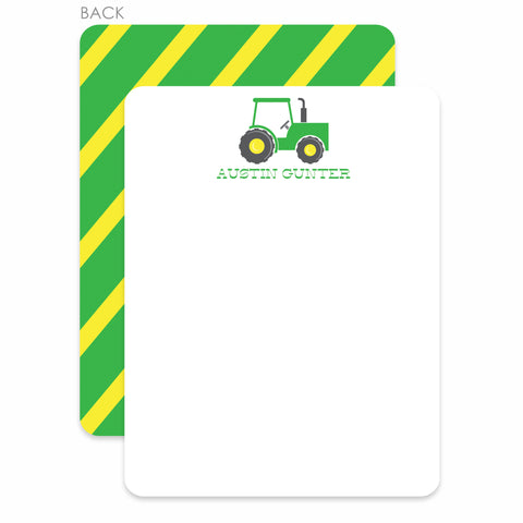 Tractor Party Flat Notecard | Swanky Press | Green & Yellow