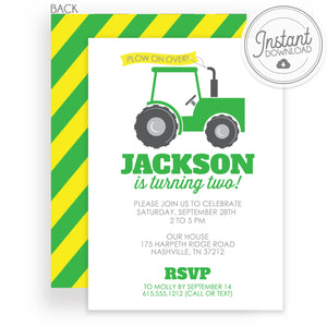 Tractor Birthday Invitation | DIY Editable File | Instant Download Templett Invitation | PIPSY.COM
