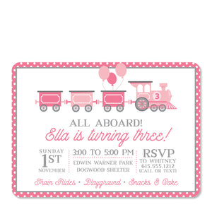 Pink Train Birthday Invitation | Swanky Press | Front