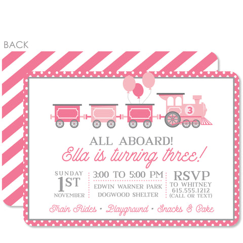 Train Birthday Invitation | Swanky Press | Pink