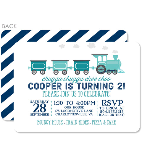 Train Birthday Invitations (Printed)