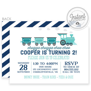 DIY Instant Download Train Birthday Invitations | Templett Invitation | PIPSY.COM