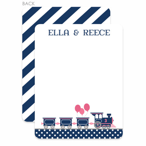 Train Thank You Notes, Pink and Blue | Swanky Press