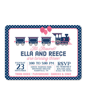 Train Birthday Invitation, Pink and Blue for twins | Swanky Press (front view)