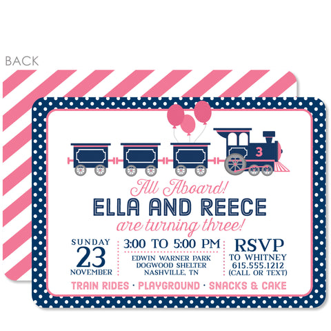 Train Birthday Invitation, Pink and Blue for twins | Swanky Press