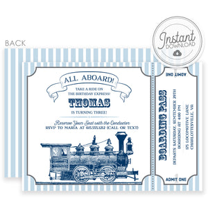 Vintage Train DIY Invitations | Instant Download Templett Invitation | PIPSY.COM