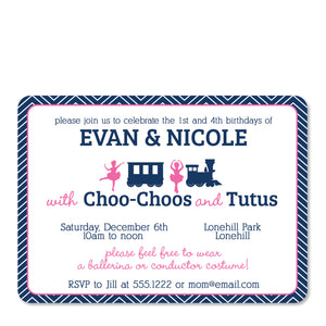 Trains & Tutus Joint Birthday Invitation | Swanky Press | Front
