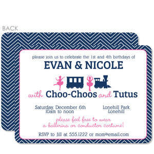 Trains & Tutus Joint Birthday Invitation | Swanky Press | Blue & Pink