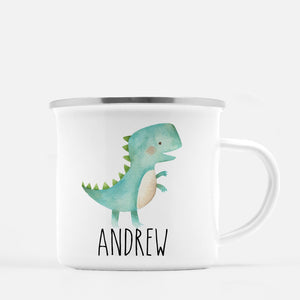 Dinosaur Camp Mug, Tyrannosaurus Rex, T-Rex, Personalized with your Child's name, PIPSY.COM