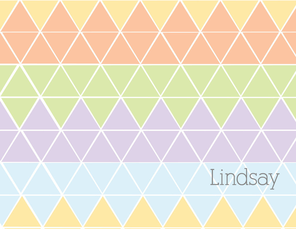 Pastel triangles folded notecard
