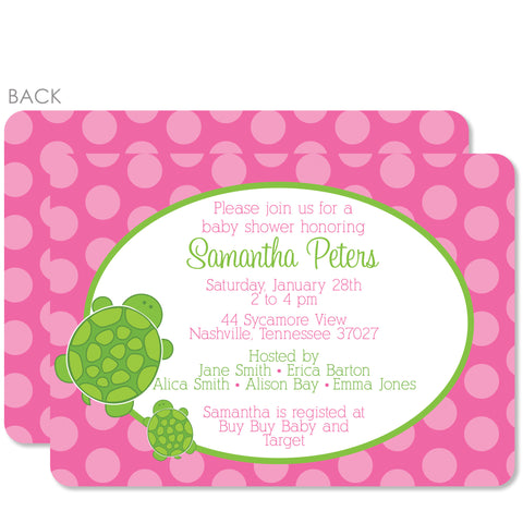 Pink Turtle Baby Shower Invitation