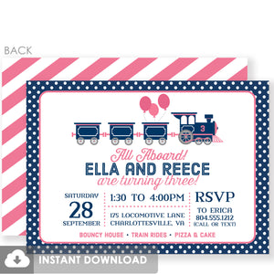 Twin Train Birthday Invitations | Pink and Blue Instant Download | Templett Invitation | PIPSY.COM
