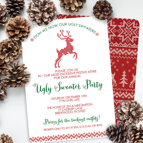 Ugly Sweater Christmas Party Invitation | Swanky Press