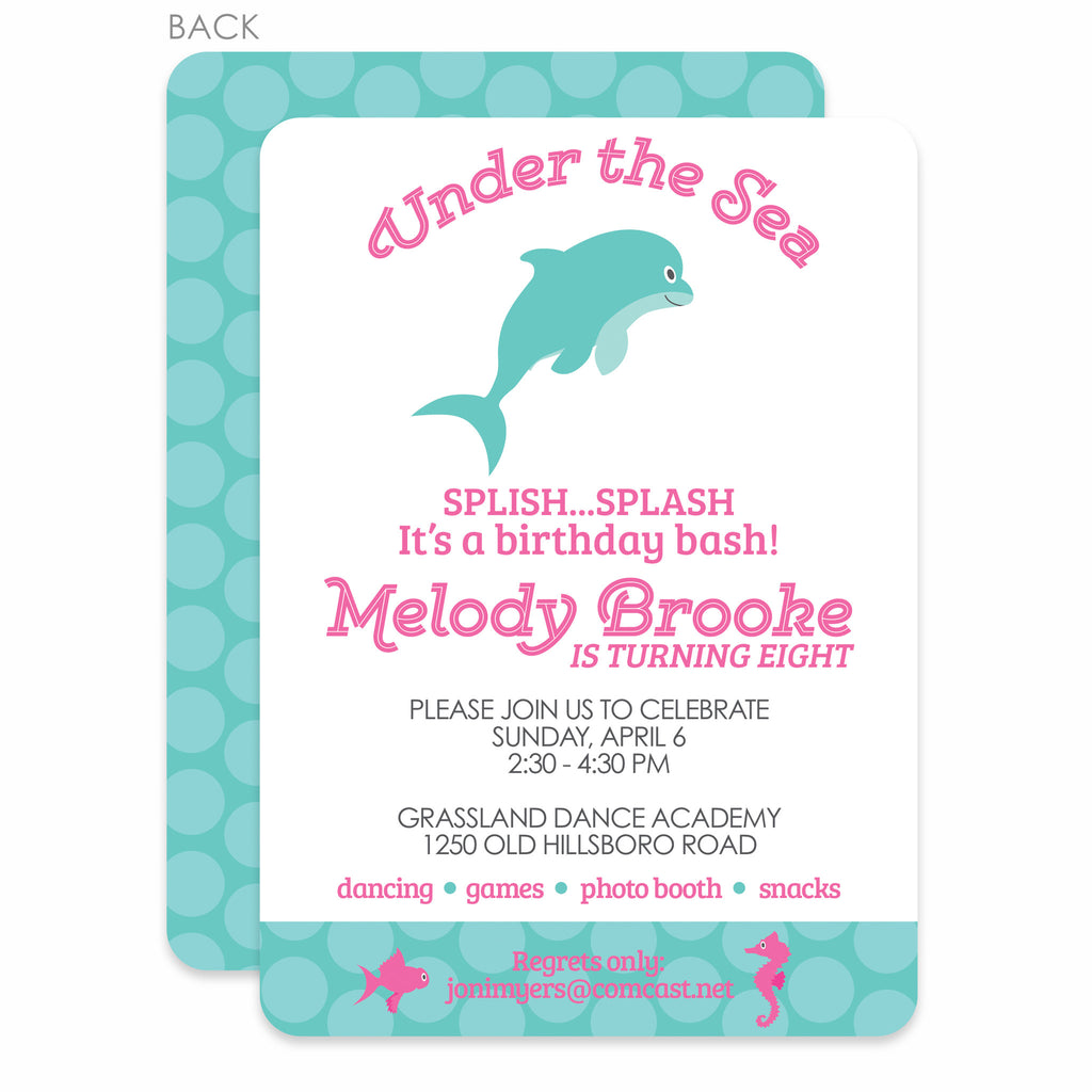 Under The Sea Party Birthday Invitation, Pink (Printed) – Pipsy