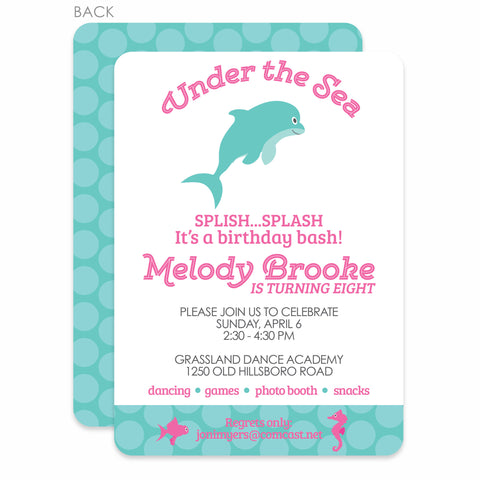 Under the Sea Party Birthday Invitation | Swanky Press | Pink