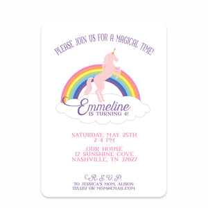 Unicorn Party Birthday Invitation | Swanky Press | Front