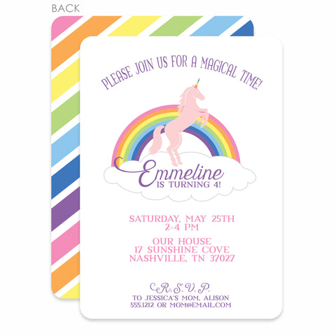Unicorn Party Birthday Invitation | Swanky Press | Rainbow & Pink