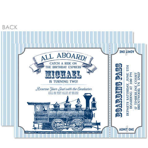 Vintage Train Birthday Invitation | Swanky Press | Blue