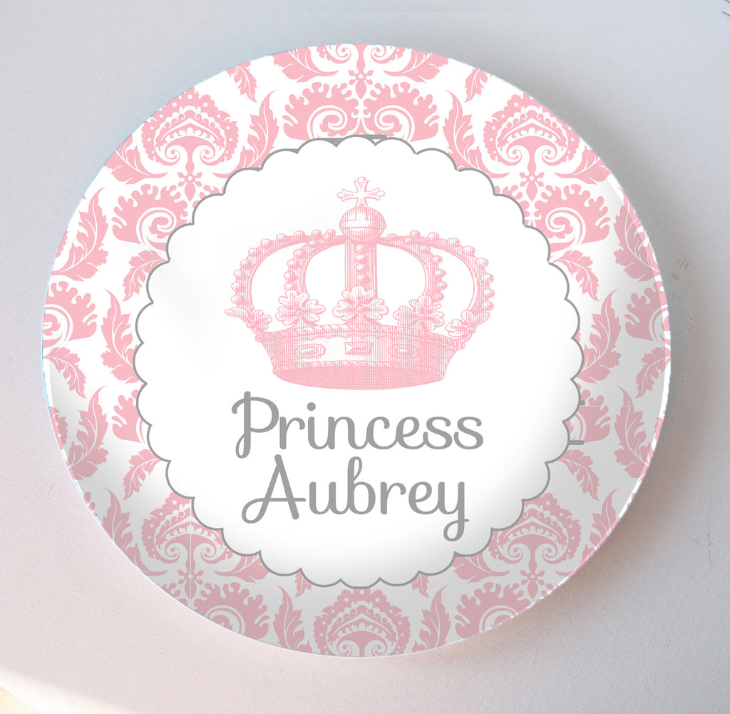 pink damask crown melamine plate personalized