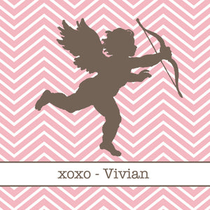Cupid silhouette in brown on pink chevron for Valentine's Day gift tags