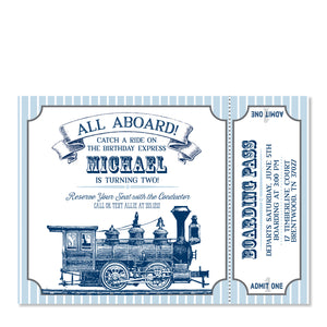 Vintage Train Birthday Invitation | Swanky Press | Front